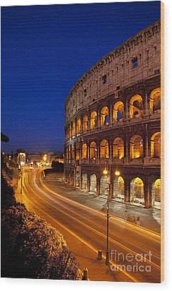 Coliseum At Twilight Wood Print by Brian Jannsen