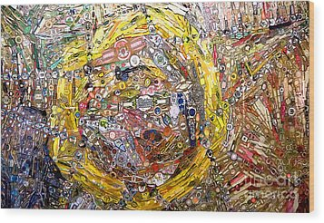 Collage Abstract Wood Print by Mindy Newman
