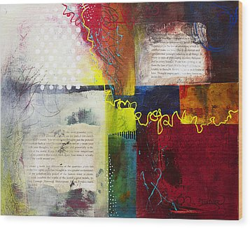 Wood Print featuring the painting Collage Art 3 by Patricia Lintner