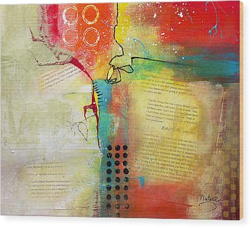 Wood Print featuring the painting Collage Art 5 by Patricia Lintner