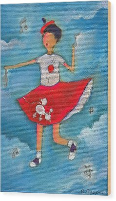 Colleen Dancing In Clouds Wood Print by Ricky Sencion