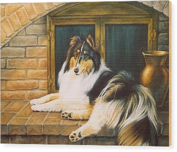 Collie On The Hearth Wood Print by Karen Coombes