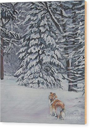 Collie Sable Christmas Tree Wood Print