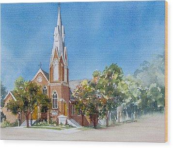 Collingwood-church Wood Print by Nancy Newman