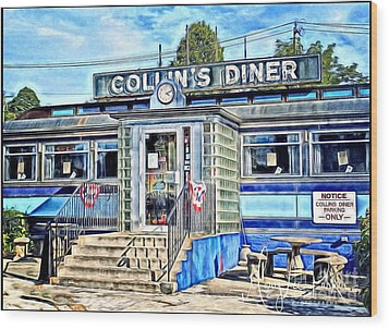 Collin's Diner New Canaan,conn Wood Print