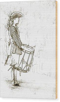 Colonial Drummer Portrait Sketch Wood Print by Randy Steele