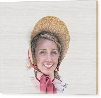 Colonial Girl With Hat Wood Print by Randy Steele