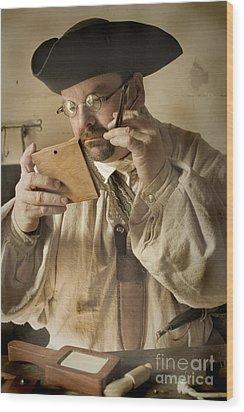 Colonial Man Shaving Wood Print by Kim Henderson
