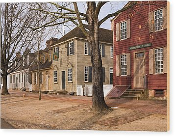 Colonial Street Scene Wood Print by Sally Weigand