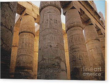 Colonnade In The Karnak Temple Complex At Luxor Wood Print by Sami Sarkis