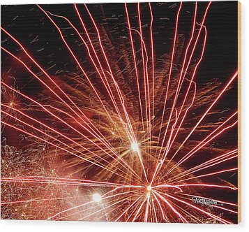 Wood Print featuring the photograph Color Blast Fireworks #0731 by Barbara Tristan