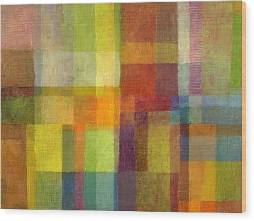 Wood Print featuring the painting Color Collage With Green And Red 2.0 by Michelle Calkins