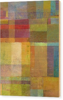 Wood Print featuring the painting Color Collage With Green And Red by Michelle Calkins