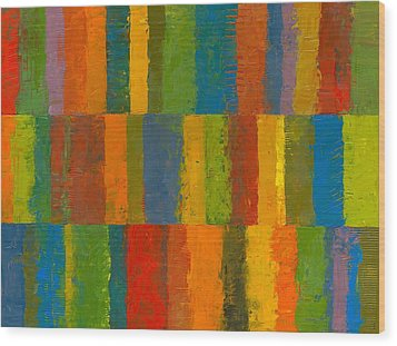 Color Collage With Stripes Wood Print by Michelle Calkins