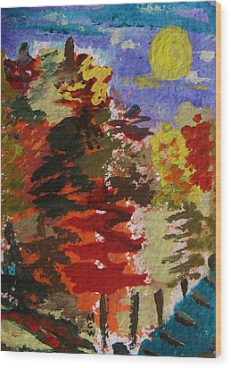 Color Forest Wood Print by Mary Carol Williams
