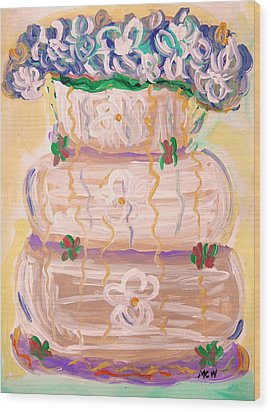 Color In A Wedding Cake Wood Print by Mary Carol Williams