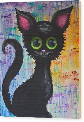 Color Rain And A Cat Wood Print by Agata Lindquist
