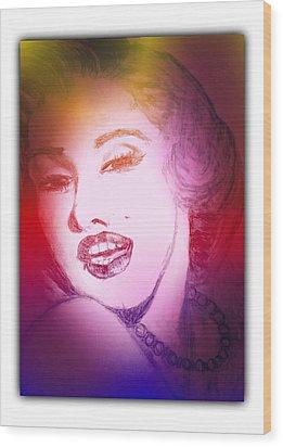 Color Rendition Of Marilyn Monroe #2 Wood Print