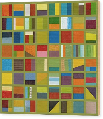 Color Study Collage 64 Wood Print by Michelle Calkins