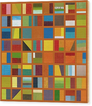 Color Study Collage 66 Wood Print by Michelle Calkins