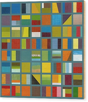 Color Study Collage 67 Wood Print by Michelle Calkins