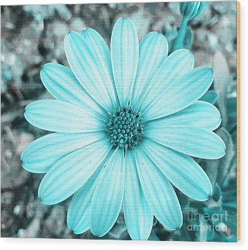 Color Trend Blue Blossom Wood Print