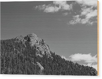 Wood Print featuring the photograph Colorado Buffalo Rock With Waxing Crescent Moon In Bw by James BO Insogna