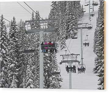 Colorado Chair Lift During Winter Wood Print