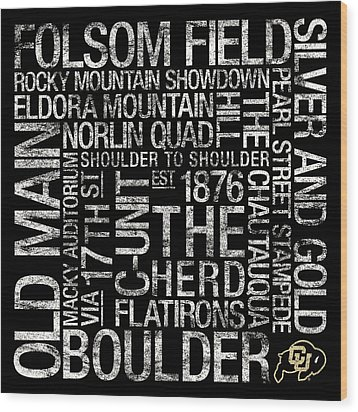 Colorado College Colors Subway Art Wood Print by Replay Photos