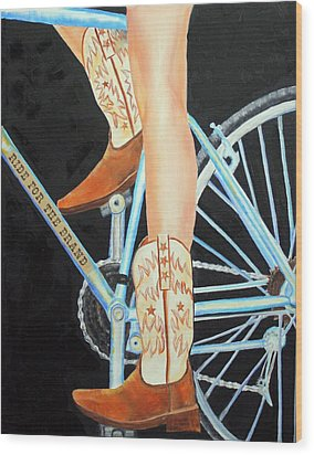 Wood Print featuring the painting Colorado Cyclist by Jennifer Godshalk