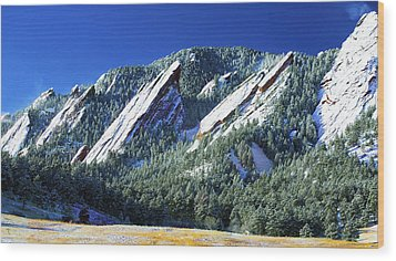All Fivecolorado Flatirons Wood Print by Marilyn Hunt