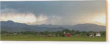 Wood Print featuring the photograph Colorado Front Range Lightning And Rain Panorama View by James BO Insogna