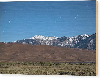 Colorado Great Sand Dunes With Falling Star Wood Print by James BO Insogna