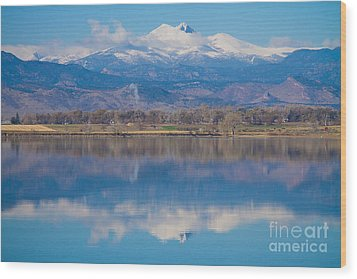 Colorado Longs Peak Circling Clouds Reflection Wood Print by James BO  Insogna