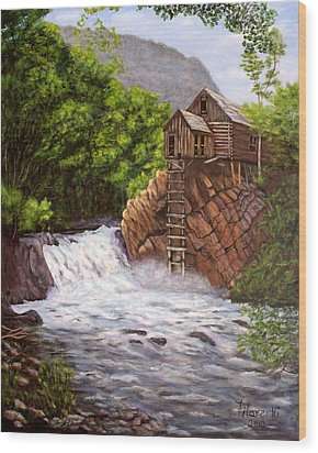 Wood Print featuring the painting Colorado Mill by Judy Filarecki