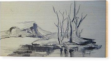 Colorado Pencil Sketch Wood Print by Judith Redman