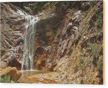 Wood Print featuring the photograph Colorado Red Rock Waterfall by Andrea Hazel Ihlefeld