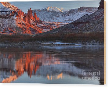 Wood Print featuring the photograph Colorado Red Tower Reflections by Adam Jewell