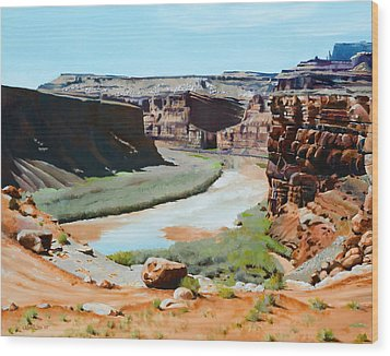 Colorado River Bend Wood Print by Lester Nielsen