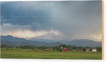Wood Print featuring the photograph Colorado Rocky Mountain Red Barn Country Storm by James BO Insogna