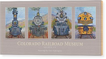 Colorado Rr Museum Quadtych Wood Print by Gary Symington
