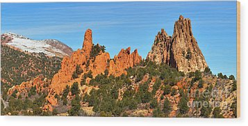 Wood Print featuring the photograph Colorado Springs Garden Of The Gods High Point Panorama by Adam Jewell