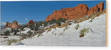 Wood Print featuring the photograph Colorado Winter Red Rock Garden by Adam Jewell