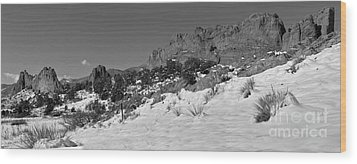 Wood Print featuring the photograph Colorado Winter Rock Garden Black And White by Adam Jewell