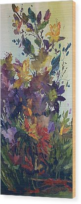 Wood Print featuring the painting Colorburst by Helen Harris