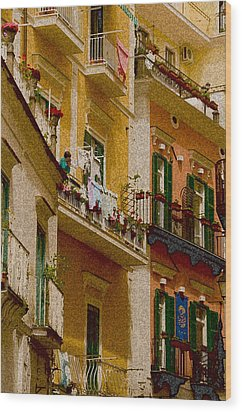 Colored Buildings Amalfi Italy Wood Print by Xavier Cardell