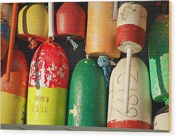 Colored Buoys Wood Print