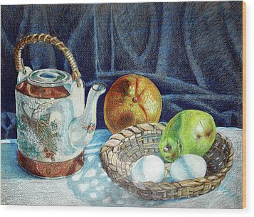 Colored Pencil Still Life No2 Wood Print by Stephen Boyle