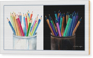 Colored Pencils - The Positive And The Negative Wood Print by Arline Wagner