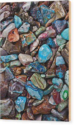 Colored Polished Stones Wood Print by Garry Gay